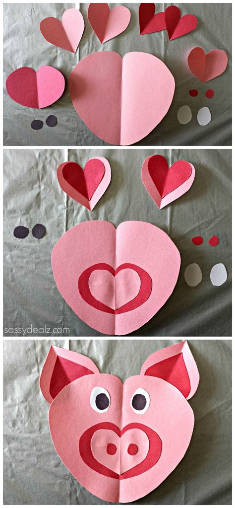 Paper Craft Valentines - pig craft for made out of paper hearts diy