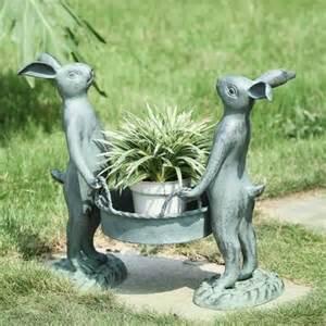 Bunny Lamps by Bunny Gardeners Pot Holder Planter Metal Garden Sculpture