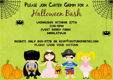 kids halloween birthday invitations kids halloween invitations printable festival collections