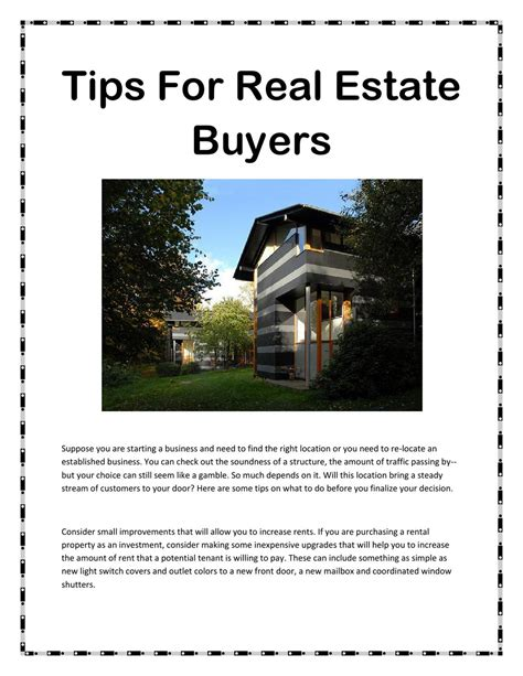 Tips For Home Buyers by Tips For Real Estate Buyers By Cottrell Issuu