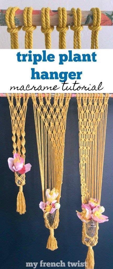 macrame triple plant hanger    images plant