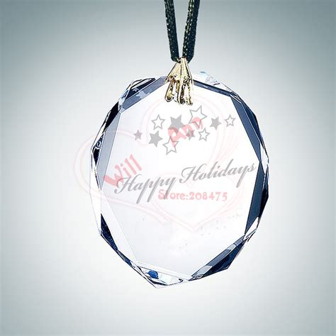 free shipping 60mm custom circle crystal glass ornament