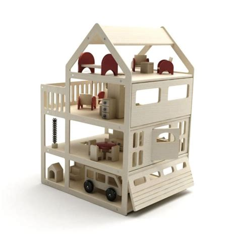 model doll house small wooden dollhouse 3d model cgtrader com