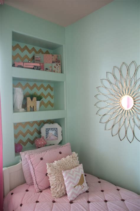 girls bedroom w aqua blue pink green with paris gold pink and very chic little girls bedroom design 187 b