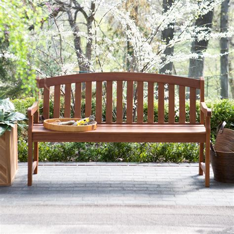 patio wooden bench coral coast amherst curved back outdoor wood garden bench