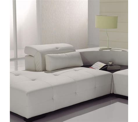 Modern White Leather Sectional Sofa Dreamfurniture T90 Modern White Leather Sectional Sofa