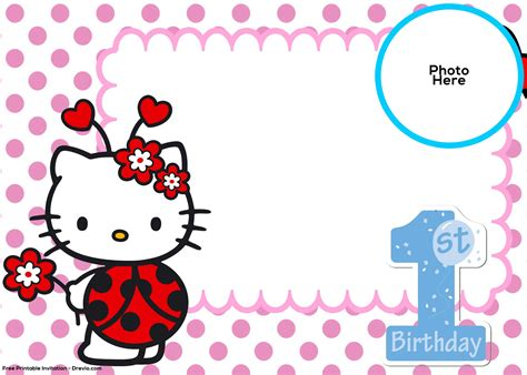 free hello kitty 1st birthday invitation template drevio