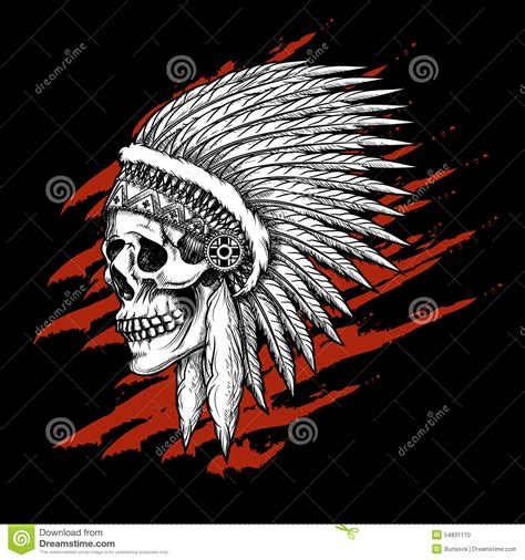 indian tribal skull with feathers emblem stock vector
