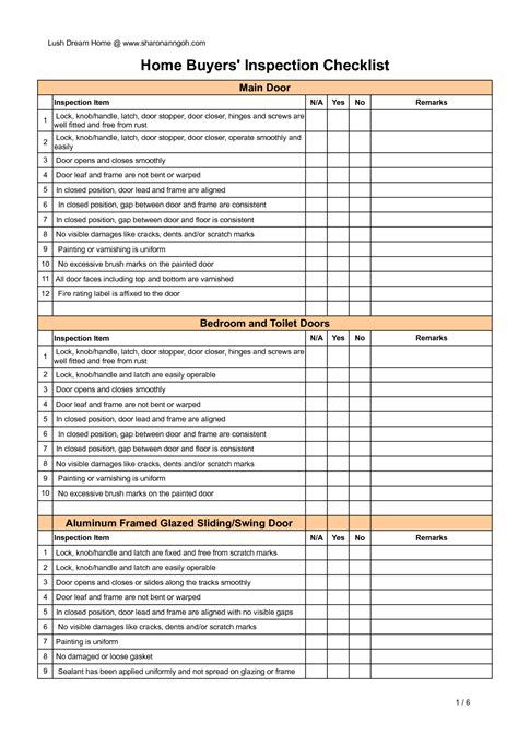Checklist Home Inspection Checklist Template Home Inspection Form Template Free