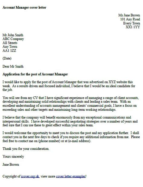 account manager cover letter exle cover letter