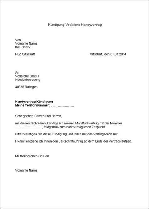 O2 Kundigen Brief Vodafone K 252 Ndigung Vorlage F 252 R Word