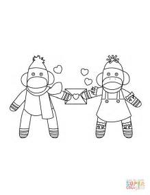 coloring pages sock monkey sock monkeys in love coloring page free printable