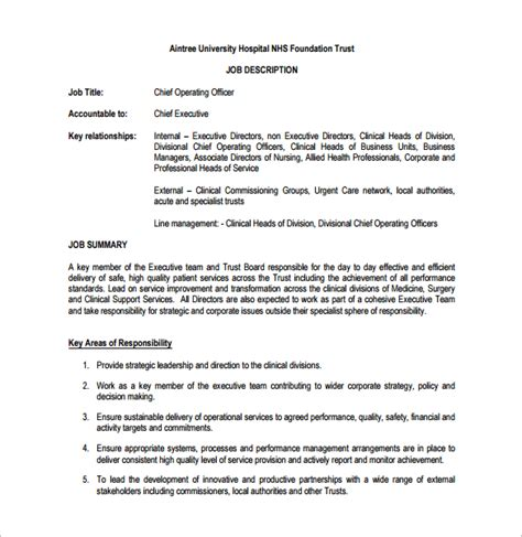 officer description template 10 chief operating officer description templates