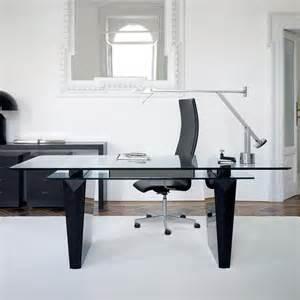 Awesome modern office desk idea with glass top black minimalist desk