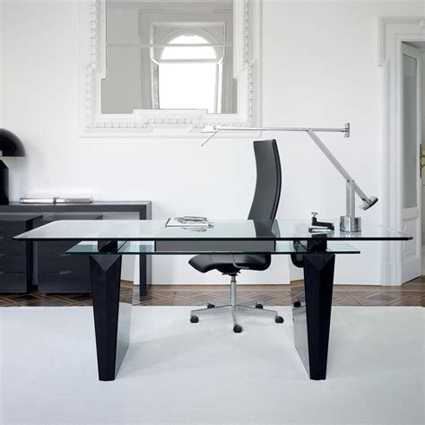 Glass Desk For Office Awesome Modern Office Desk Idea With Glass Top Black Minimalist Desk Design Ideas