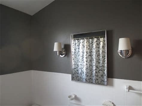 upstairs bath at beyond the portico paint color rugged suede by valspar sophisticated and chic