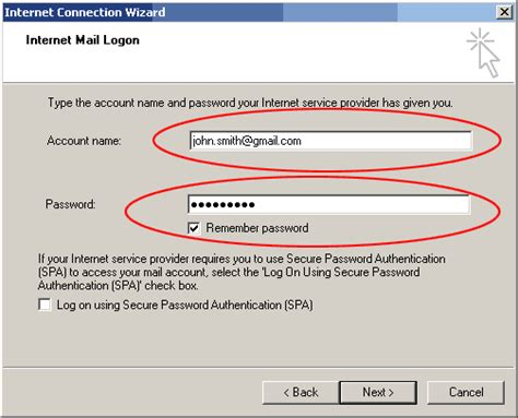 gmail server name and configure email account in microsoft outlook express