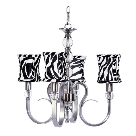 Four Arm Hton Metal Chandelier With Glass Balls And Zebra Chandelier