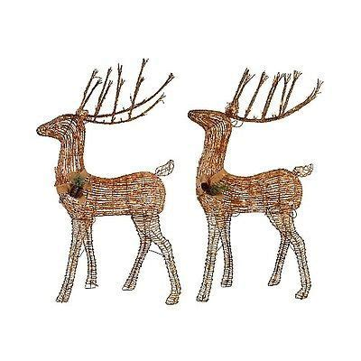grapevine reindeer on e bay grapevine deer outdoor lighted decoration set 2 sugared 150 lights http www ebay