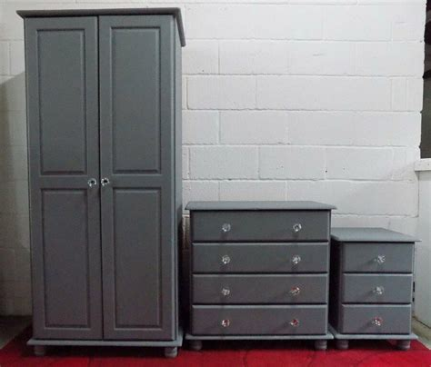 grey painted pine bedroom set wardrobe chest  drawers bedside cabinet  fareham