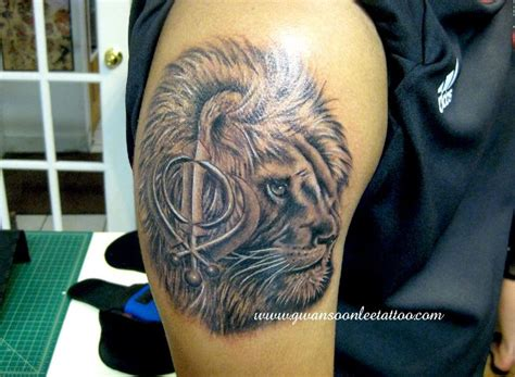 lion tattoos for punjabi lion head tattoo with khanda symbol sikh pinterest