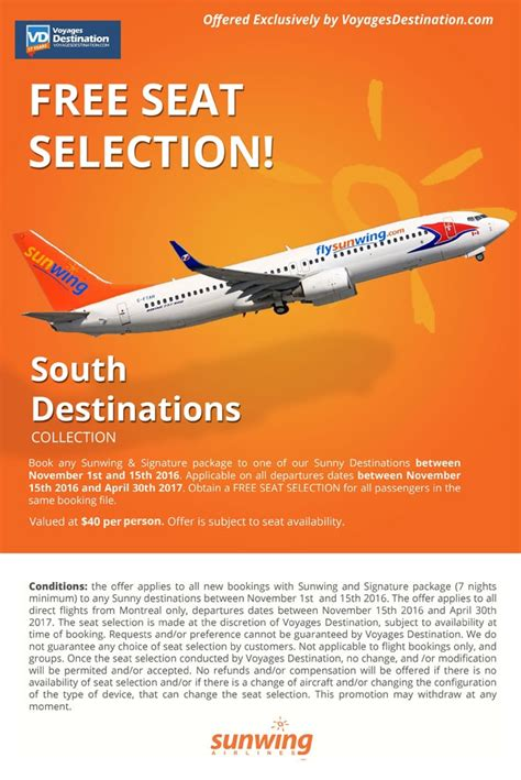 sunwing free seat selection free seat selection voyages destination