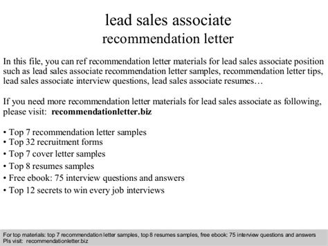 Letter Of Recommendation For Lead Lead Sales Associate Recommendation Letter