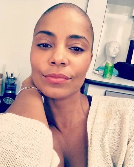 photos of women with no hair sanaa lathan shaves head for role in nappily ever after