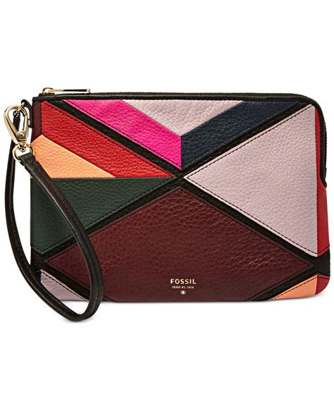 lyst fossil patchwork large zip wristlet