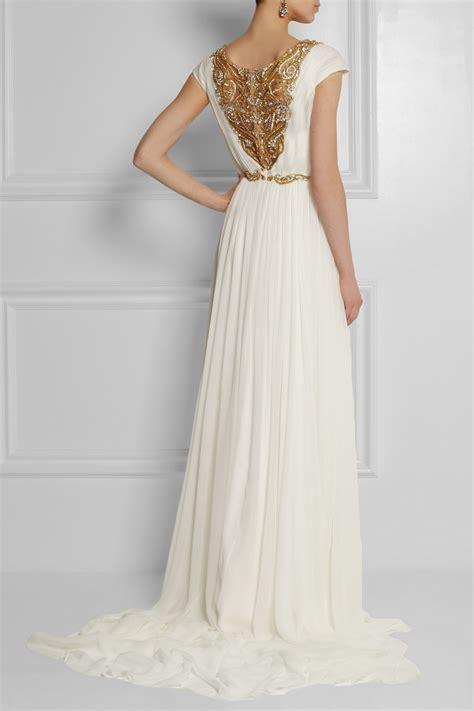 Marchesa Silk Chiffon Gown by Marchesa Embellished Silk Chiffon Gown In Metallic Lyst