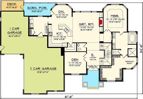 great house plans 4 bedroom house plan with 2 story great room 89831ah architectural designs house plans