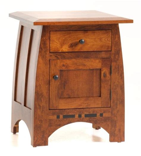 night table solid wood regular height with door amish vineyard night stand