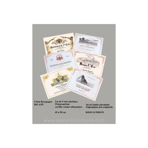 bourgogne burgundy wine label placemats set   plastic
