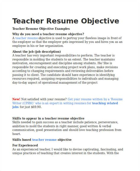 Resume Objectives For Teachers by Resume Sle 32 Free Word Pdf Documents