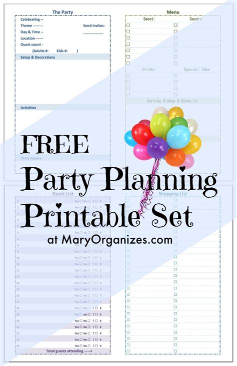 free birthday planner printable party planning printable set