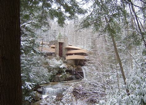 Frank Lloyd Wright Foundation File Fallingwater In Winter Jpg Wikimedia Commons