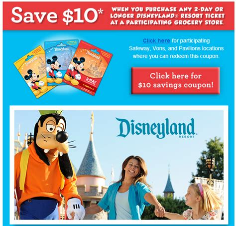 printable food coupons for disney world save 10 on disneyland tickets at safeway and vons