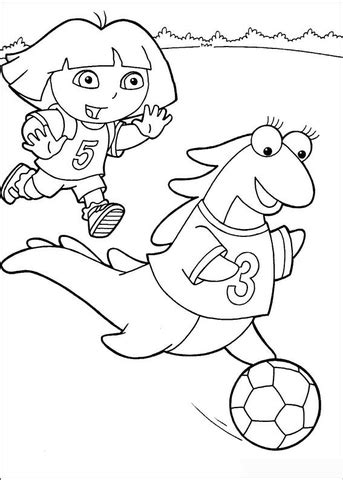 dora soccer coloring pages dora and isa playing soccer coloring page free printable