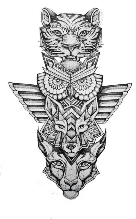 totem pole tattoos spirit animal totem pole tiger owl wolf lynx