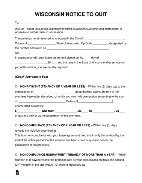 Eviction Notice Template Wisconsin Free Wisconsin Eviction Notice Forms Process And Laws Word Pdf Eforms Free Fillable Forms