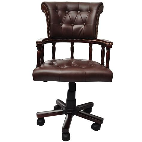 Brown Real Leather Chesterfield Captains Swivel Office Swivel Captains Chairs