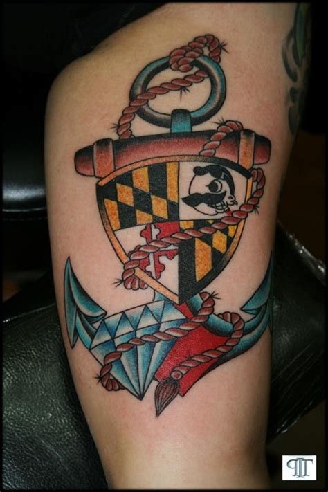 md tattoo maryland flag natty boh anchor baltimore