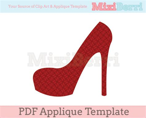 high heel applique template pdf on luulla