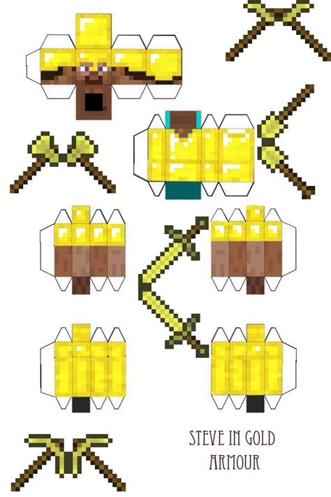 papercraft steve in gold armour with tools minecraft