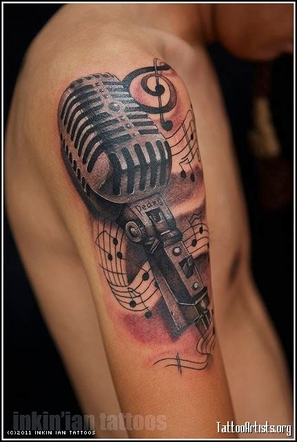 tattoo on your shoulder music karaoke mic w musical symbols let s party piercing