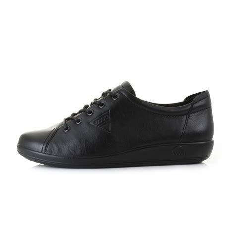 ecco comfort shoes womens ladies ecco soft 2 0 black leather lace up comfort