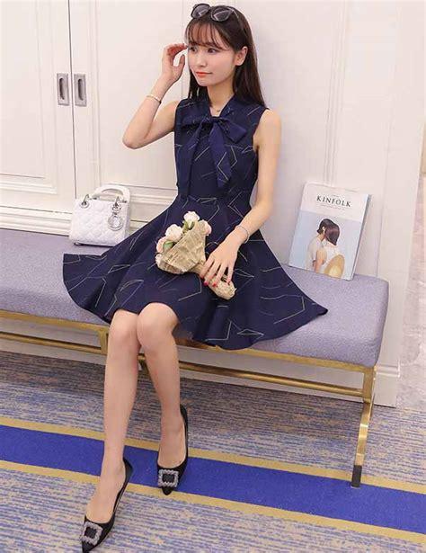 dress biru pita cantik korea 2016 jual model terbaru