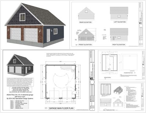16 X 30 Garage Plans by G550 28 X 30 X 9 Garage Plans With Bonus Room Sds Plans