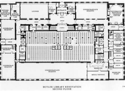 university library floor plan phase ii second floor plan columbia university libraries