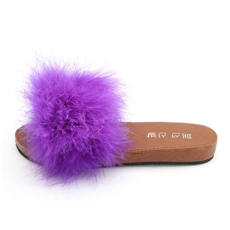 fluffy slippers flats slip on feather fluffy slippers mules